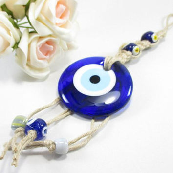 Evil eye home decor, Evil eye for home, Eye protection charm, Glass evil eye, Blue evil eye, Evil eye art, Evil eye ornament, Macrame art