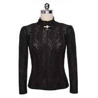Fashion Women's Long Sleeve Stand Collar Turtleneck Lace Floral Crochet Hollow Pullover Sweater Shirt Blouse Tops With Brooch