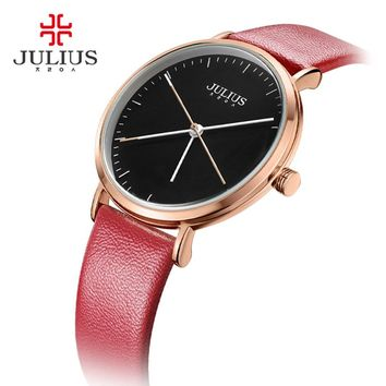 JULIUS Creative Gifts Leather Wrist Watch Simple Casual Business Clock Female Dress Montre Reloj Mujer Unique Design Colok