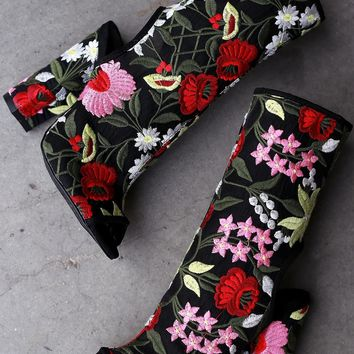 Liliana Embroidered Floral Mesh Chunky Heeled Mid Calf Boots