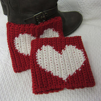 Crochet Boot Cuffs Red with White Heart Ready to Ship!