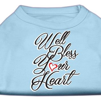 Well Bless Your Heart Screen Print Dog Shirt Baby Blue Med (12)