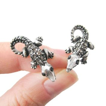 Detailed Crocodile Alligator Lizard Shaped Stud Earrings in Silver with Rhinestones