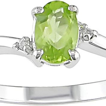 Diamond & Peridot Ring in 10K White Gold