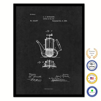 1889 Coffee or Tea Pot Vintage Patent Artwork Black Framed Canvas Home Office Decor Great for Coffee Lover Cafe Tea Shop