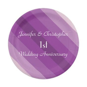 Purple Striped Plates, 1st Wedding Anniversary Paper Plate