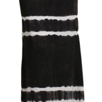 Womens Mineral Washed Black & White Striped Tie Dye Full Length Boho Maxi Skirt