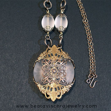 Frosted Glass Neo Victorian Gothic Handmade Antique Brass Necklace - Vintage Style Glass Medallion Pendant