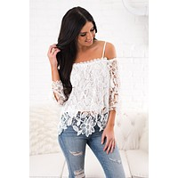 Sight To See Crochet Lace Top (White)