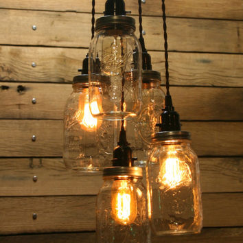 DIY  5 Jar Pendant Light - Mason Jar Chandelier Light Kit - Staggered Length Hanging Mason Jar Hanging Pendant Light Kit