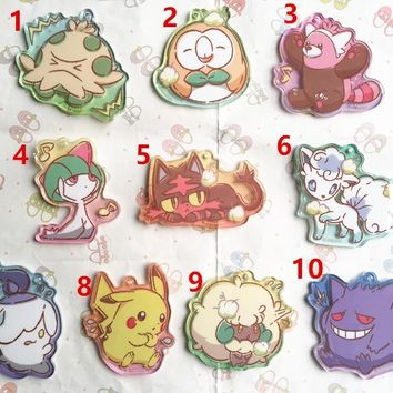 Japan Original GAME FREAK  Keychain Anime  Oteire Please Series Acrylic PendantKawaii Pokemon go  AT_89_9