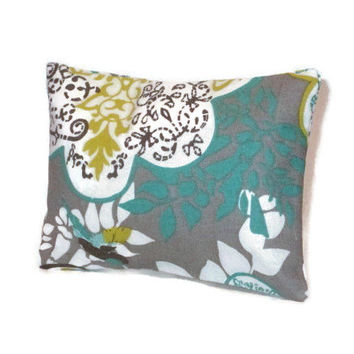 Aromatherapy Herbal Dream Pillow - Grey Turquoise Lime Green Hummingbird - (Blends Available: Restful, Peaceful, Romantic, or Creativity)