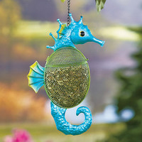 Colorful Sea Life Metal Seahorse Bird Feeder Hanging Seed Feeder