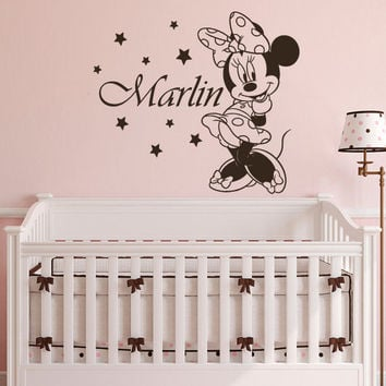 Minnie Mouse Wall Decal Custom Personalized Name Sticker Vinyl Art Nursery SM74