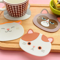 1 Piece Silicone Dining Table Placemat Coaster Cartoon Cat Animal Kitchen Accessories Mat Coffee Cup Bar Mug Drink Pads