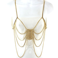 gold body chain bib collar choker bikini necklace bathing suit jewelry