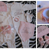Baby Girls clothing set full outfit rhinestone little Diva sleepsuit vest bandana bib hat bootees mitts shamballa bracelet pink and white