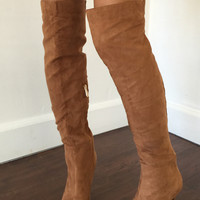 Jade Over The Knee Boots - Camel