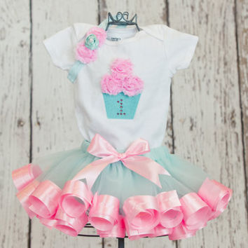 First Birthday Baby Girl Onesuit/T-Shirt w/ 3D Cupcake & Rhinestone Age Number-Matches Aqua and Pink Ribbon Trim Tutu (TUTU NOT INCLUDED)