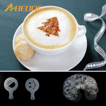 ABEDOE 16pcs Coffee Latte Cappuccino Barista Art Stencils Cake Duster Templates Coffee Tools Accessories Gusto Coffee Milk Mold