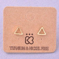 Small Open Triangle Stud Earrings - Gold or Silver