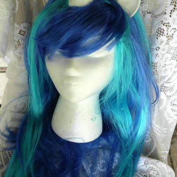 Blue Unicorn Wig Scratch DJ Pon 3 Vinyl Long Natural Wig Unicorn Horn Costume Cosplay MLP