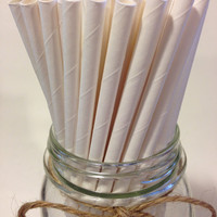 25 Solid White Paper Straws // baby bridal shower decorations // candy dessert buffet table // wedding / First birthday / new year party