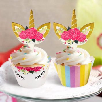 Unicorn Cupcake Wrappers and Toppers (24-pieces)