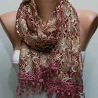 Cinnamon Silvery Scarf -  Cowl with Lace Edge by Fatwoman