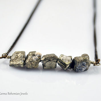 Raw Pyrite Bar Necklace. Bohemian Gemstone Necklace. Long Pyrite Bar Necklace.Raugh Pyrite Necklace Silver. Layered Necklace. Gold Gemstone.