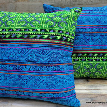 "16"" Ethnic Hmong Embroidery Decorative Throw Pillow Cushion Cover Bright Blue and Green"