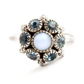 Vintage Avon Blue Rhinestone Ring -  Adjustable Silver Tone 1970s Costume Jewelry / Moon Magic