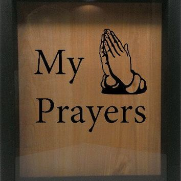 "Wooden Shadow Box Wine Cork/Bottle Cap Holder 9""x11"" - My Prayers with Hands"
