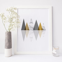 Geometric print, mountains print, mid century print, Scandinavian print, modern print, mountains poster, triangles print, marble print