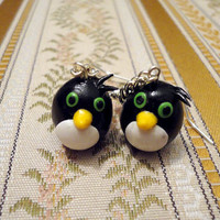 Emo penguin earrings in chains made from polymer by NellinShoppi