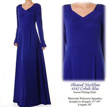 Pleated VNeck Jersey Abaya Modest Long Sleeves Maxi Dress Size S/M - 4842 Cobalt Blue