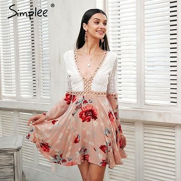 Simplee Sexy v neck lace dress women Flare long sleeve boho floral short dress Hollow out elegant summer dress vestido