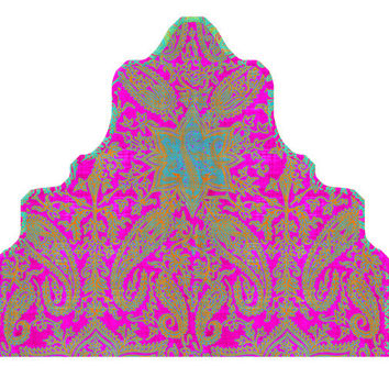 Wall Decal Headboard - Boho Dreams - CURVY - Fuchsia Turquoise Orange - TWIN - Lite version Headboard