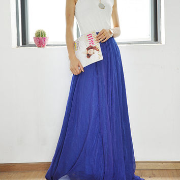 Chiffon Long Skirt Silk Skirts High Waist Maxi Skirt Elegant Elastic Waist Summer Skirt Floor Length Long Skirt