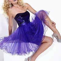 Prom Dresses, Celebrity Dresses, Sexy Evening Gowns at PromGirl: Strapless Purple Hannah S Homecoming Dress