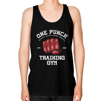 One Punch Gym Unisex Fine Jersey Tank (on man)