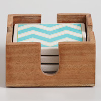 Aqua Chevron Coasters, Set of 4