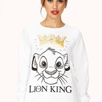 FOREVER 21 Simba Sweatshirt White/Black Large
