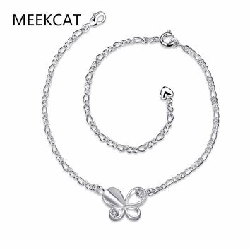 MEEKCAT Delicate Butterfly Anklet 925 real silver plated Chain Bracelet Women Girl Lover Barefoot Fashion Foot Chain Jewelry