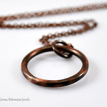 Large Karma Necklace. Heavy Copper Circle Necklace. Eternity Necklace. Long Boho Necklace. Layered Necklace. Oxidized Rustic Necklace.
