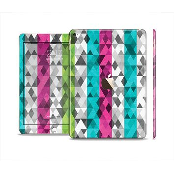 The Trendy Colored Striped Abstract Cube Pattern Skin Set for the Apple iPad Pro