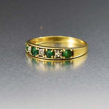 English Gold and Emerald Eternity Band Ring