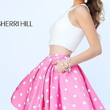 Short Two Piece Polka Dot Sherri Hill Dress