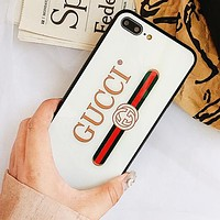 GUCCI tide brand couple models simple glass letter iPhone6 phone case White