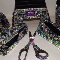 Large Rhinestone Bling Desk Office Supply Set by EVRhinestones